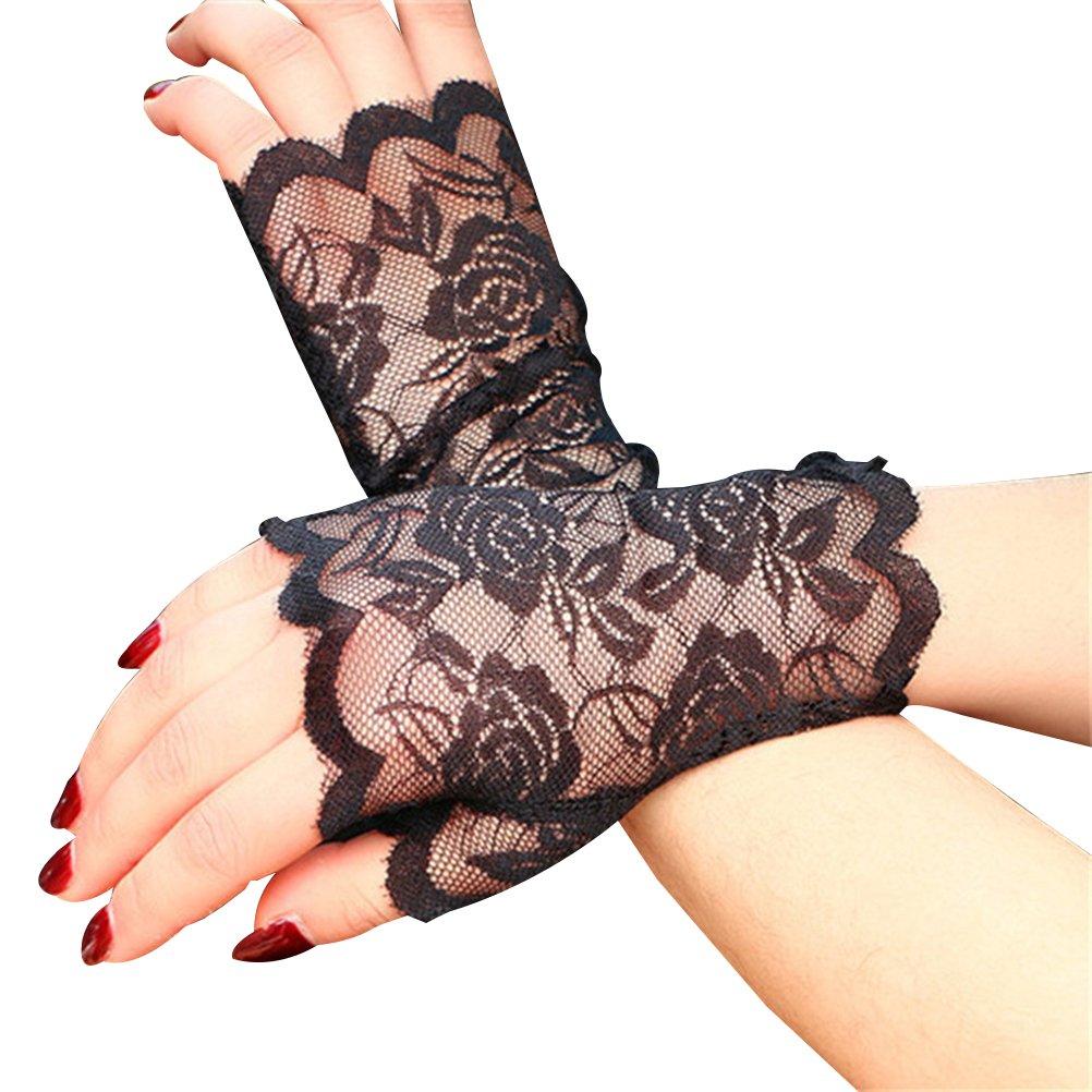 fef39d3285 Get Quotations · Tinksky Women Half Hand Short Gloves UV Protection  Fingerless Gloves Sun Block for Driving