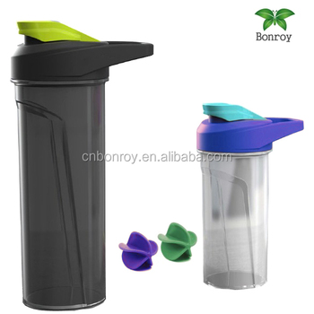 Polypropylene Whey Protein Shaker Bottle With Storage Built In Mixing Ball Bpa Free For Sports
