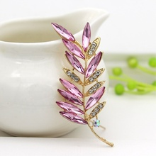 Dress accessories exquisite leaf brooch rhinestone brooch