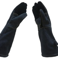 High Quality Reinforced Palm Blue Cow Leather Welding Professional Gloves