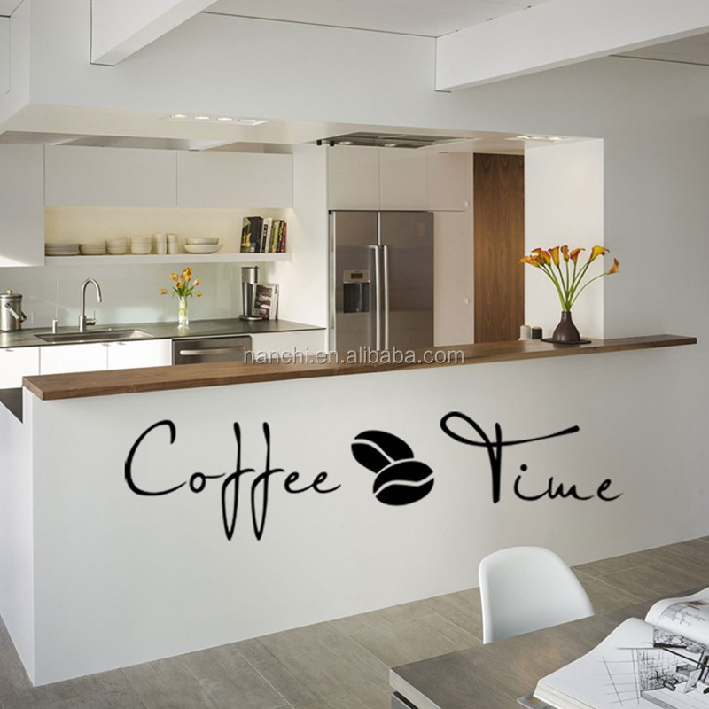"Small English ""coffee time"" Wall stickers cafe kitchen decoration carved wall stickers yy2996"