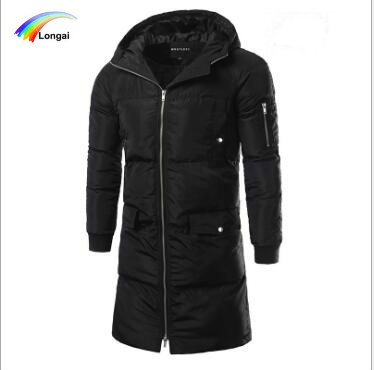 100% polyester long wholesale men jacket winter coat hooded