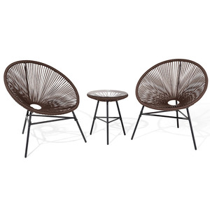 2 Seater Bistro Set Multi-Color Rattan Wicker Acapulco Lounge Chair With Woven Basket String Moon Chair And Glass table