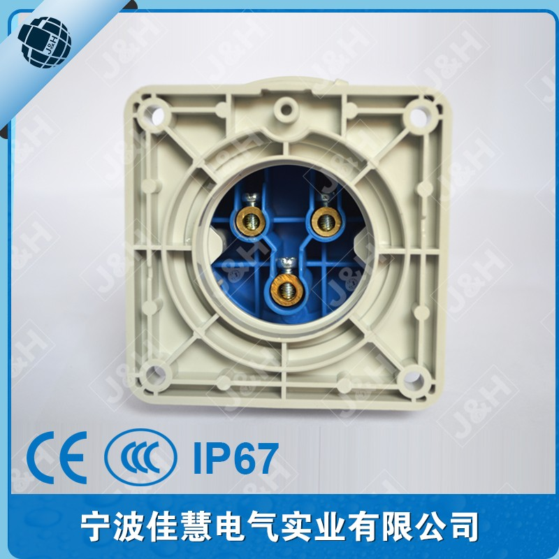 IP67 waterproof panel mounted plug 3P 32A european industrial socket&plug