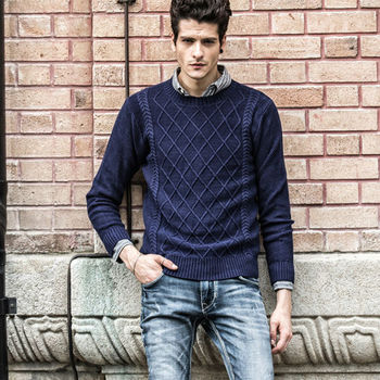 M50803m New Design Mens Knitted Sweater Shirt Pattern Wholesale