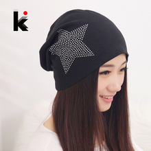 Free shipping autumn and winter beanies diamond turban Pentacle cap skullies hip-hop stocking hat for women men bonnet  4 colors