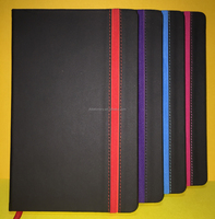 Elastic band with pen holder PU notebook