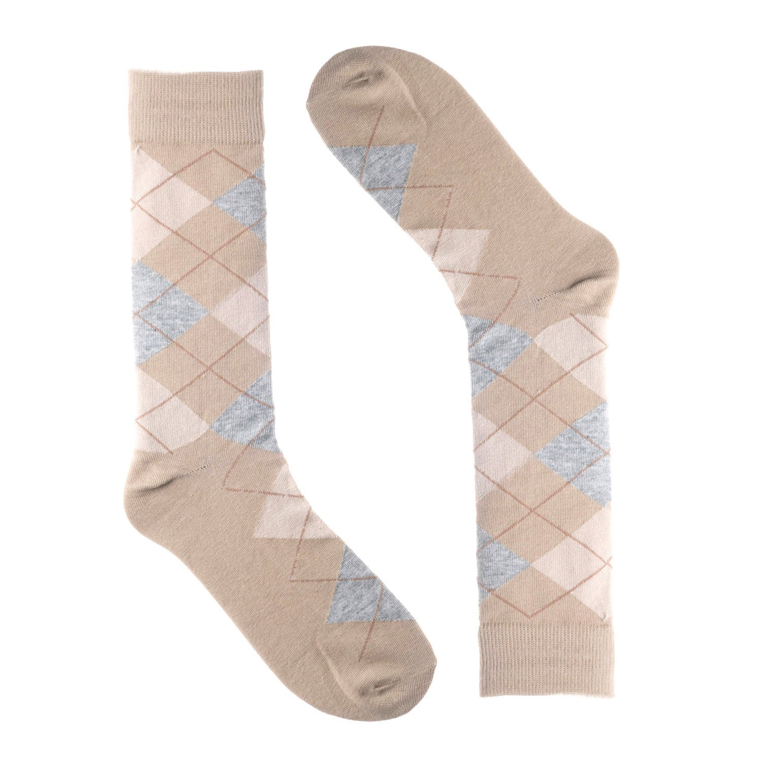 aaa367237a13 Get Quotations · Ivory + Mason Argyle Dress Socks for Men - Tan Grey Color  - Cotton - (