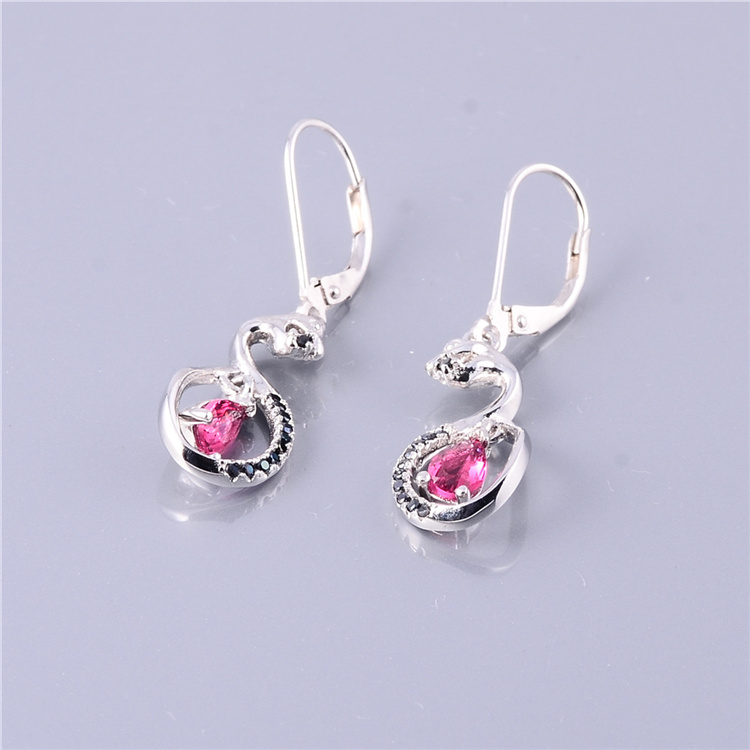 Colorful Glass 925 Sterling Silver Stud Earrings For Women