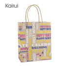 Machine making shopping design washable flat bottom brown kraft paper bags with logo print