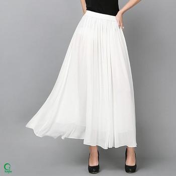 e46af005a99c SK086 Elastic Waistband Women Chiffon Long Plain White Cheap Maxi Skirts
