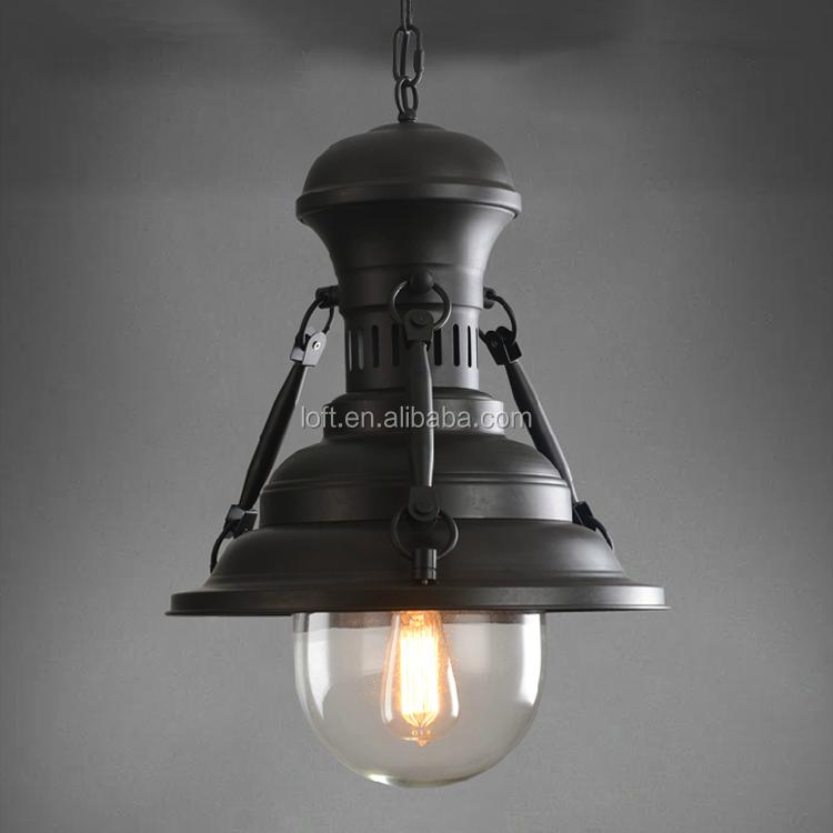 Vintage Industrial Iron Art Hanging Chain Loft Pendant Light With ...
