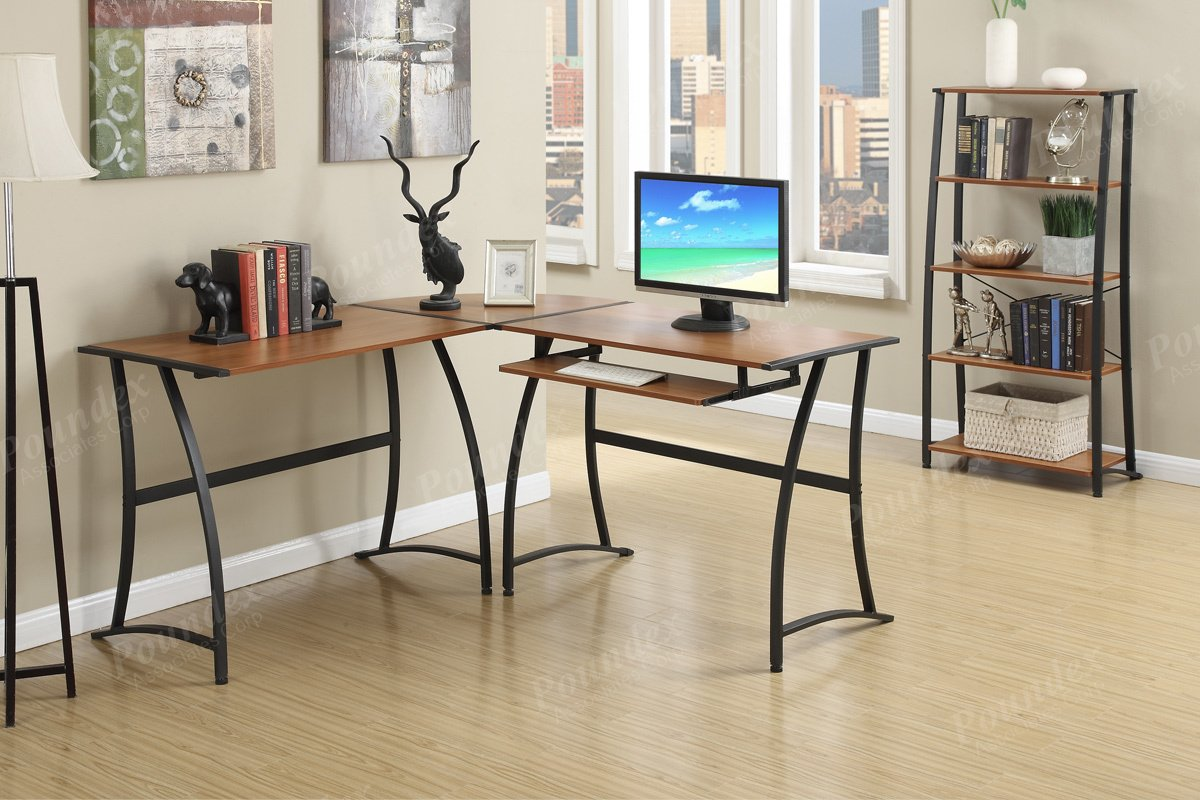 Modern L-Shaped Functional Computer Office Writing Desk Pull Out Tray Wood Top Metal