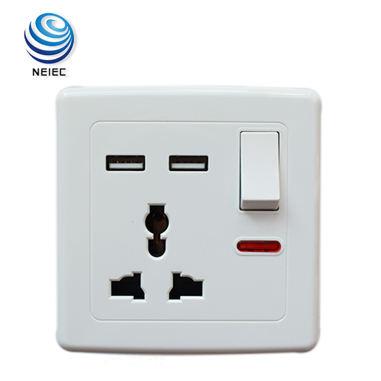 Universal Multi Plug Socket Wall Light Switch With Neon
