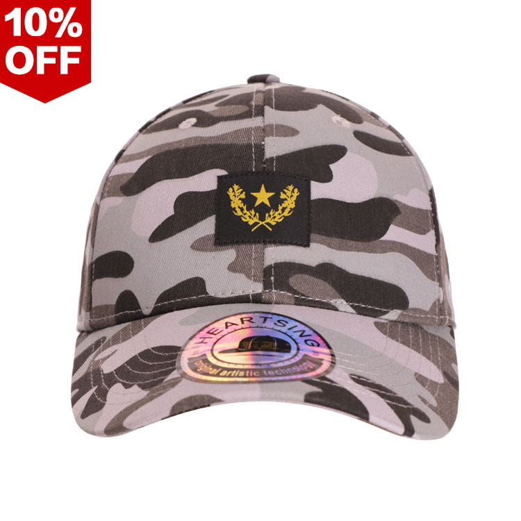 Gestructureerd acryl 6 panel custom camo blank army geweven label baseball cap voor mannen