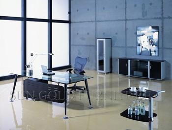 Conception simple moderne en verre bon marché en acier bureau