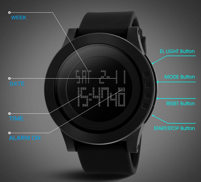 skmei 1142 simple black silicone strap digital mens reloj all skmei 1142 simple black silicone strap digital mens reloj all black digital mens watch