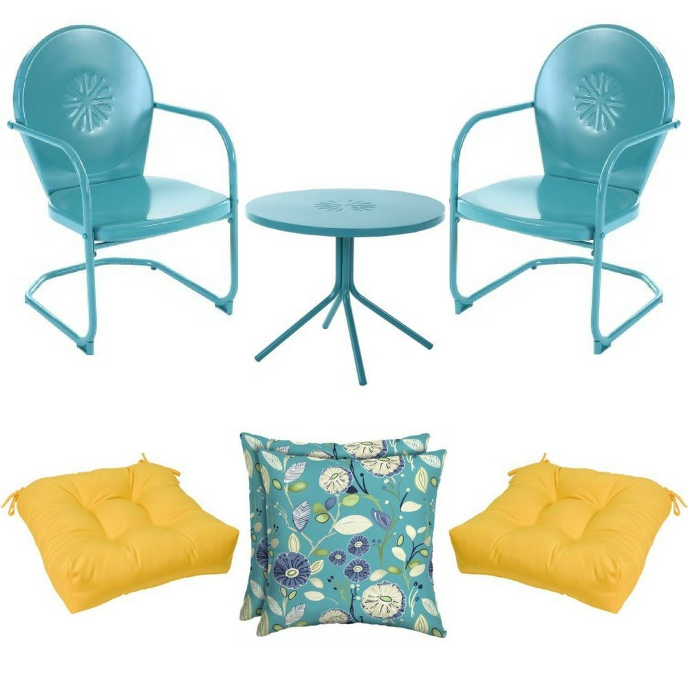 """3-Piece Teal Metal Retro C-Spring Bistro, 2-Piece 20"""" Chair Cushions in Yellow & 2-Piece Blue Floral Toss Pillow, Mainstays, Patio, All-Weather, Outdoor (Choose Color Design) (Teal, Yellow, Floral)"""