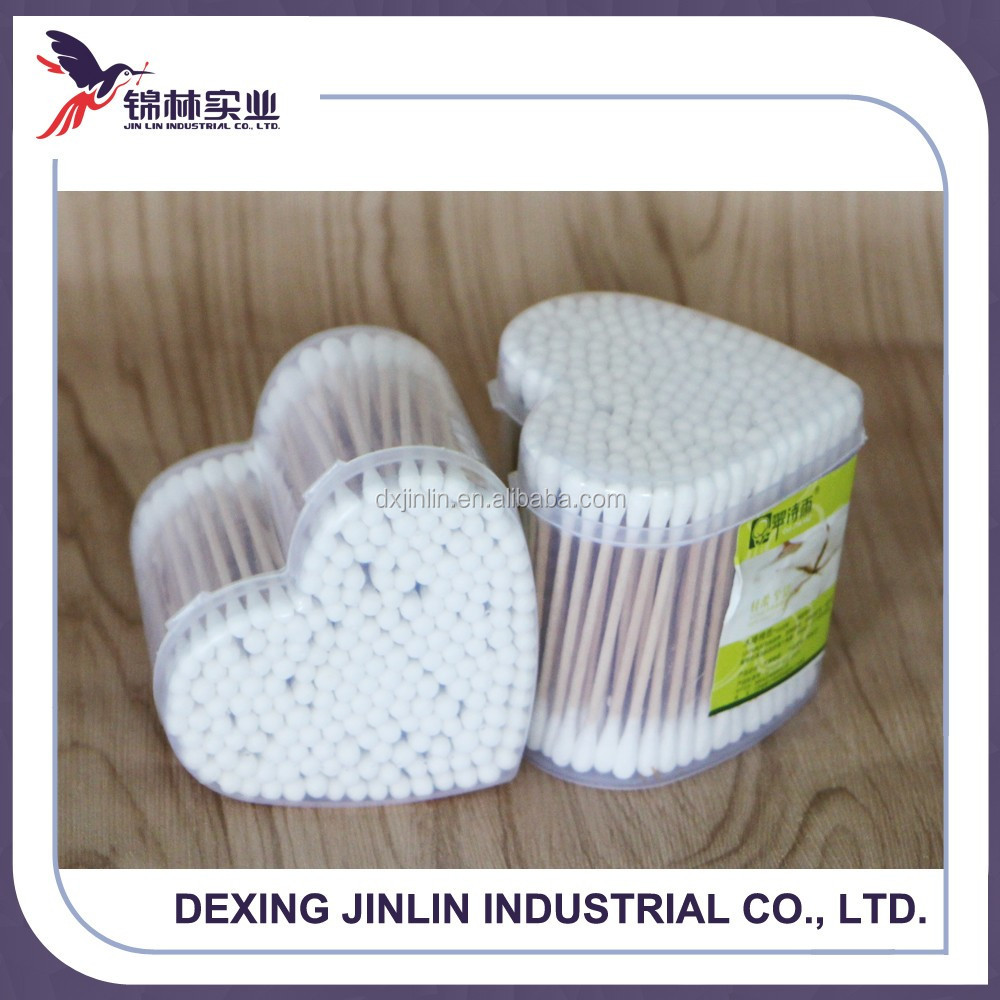 New product wooden stick cotton bud for cosmetic and ear cleaning use 250pcs in round box