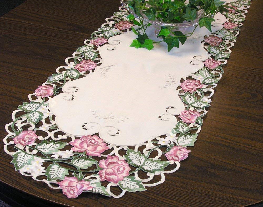Banberry Designs Embroidered Pink Rose Flowers Table Runner Approx. 14 By 34 Inches
