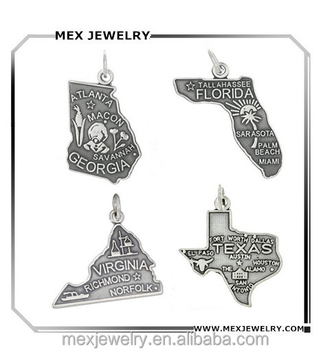 Custome Made USA Florida Georgia Virginia Texas US States Charm Wholesale