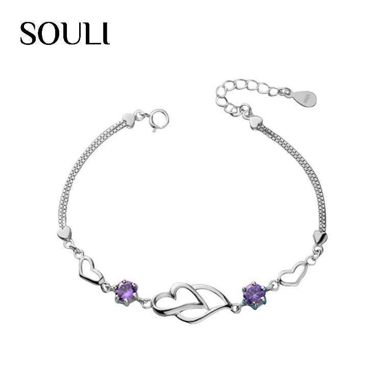 Fashion Ladies Jewelry Wedding Bracelet S925 Sterling Silver Love Heart Bracelet with Cubic Zirconia