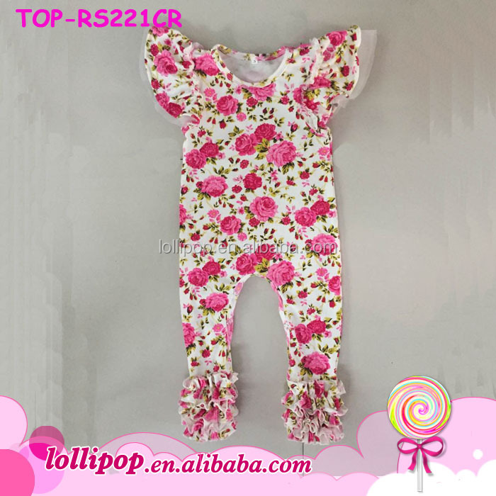bc39108e725e 0-24M Baby Triple Ruffle Icing Romper Onesie Toddlers Shortall Playsuit  Girls Pink Floral Printed