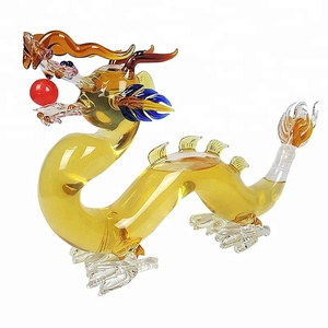 dragon shaped glass wine bottles wholesale/animal shaped glass bottles/dragon art wine bottle