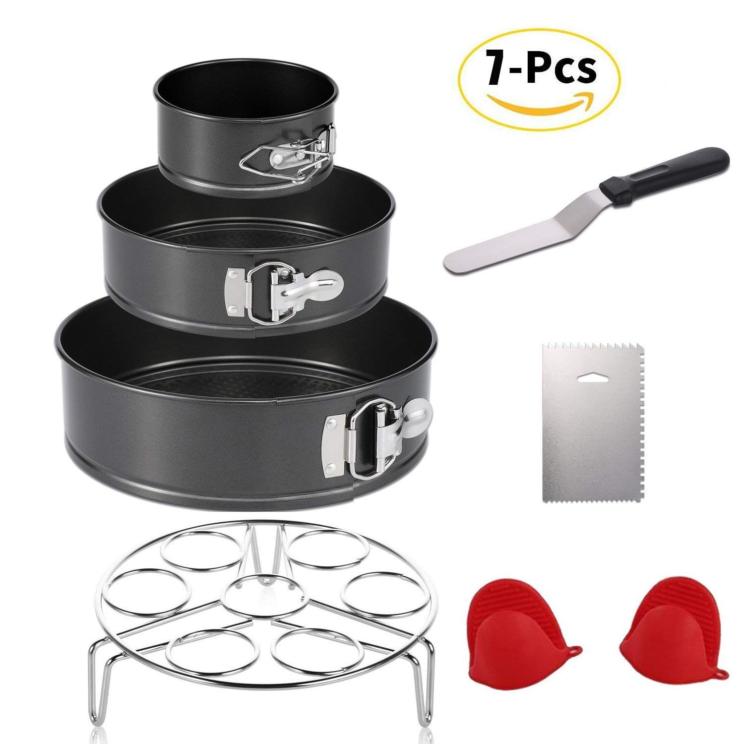 """Instant Pot Accessories Set with Steamer Basket/Springform Pan Set of 3 Piece 4"""" 7"""" 9"""" Springform Pan/Icing Spatula/Icing Smoother/1 Pair Silicone Cooking Pot Mitts 7 Pcs"""