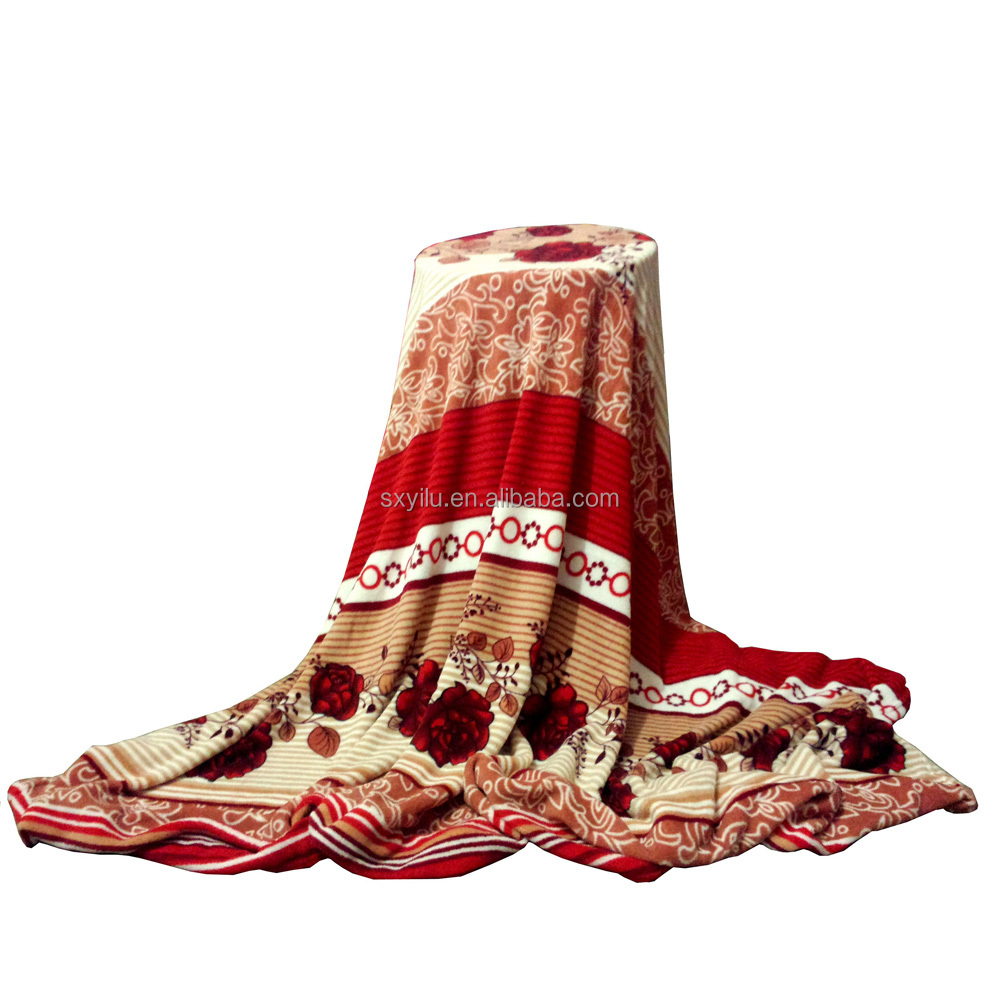 Wholesale Indian Printing Coral Fleece Blanket Polyester From China