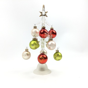 2019 New Arrival Wholesale indoor glass tree with 12pcs balls ornament, christmas gift for holiday