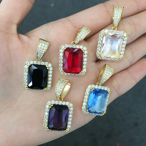 Custom Stained Color Glass Zircon Pendant 18 K Gold Plated Ruby Hip Hop Big Stone Pendant Design For Men