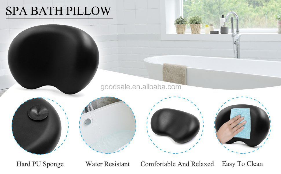 Black Nonslip Waterproof Home Spa Tub Bath Neck Back Support bath Pillow with Suction Cups for Ultimate Relaxation