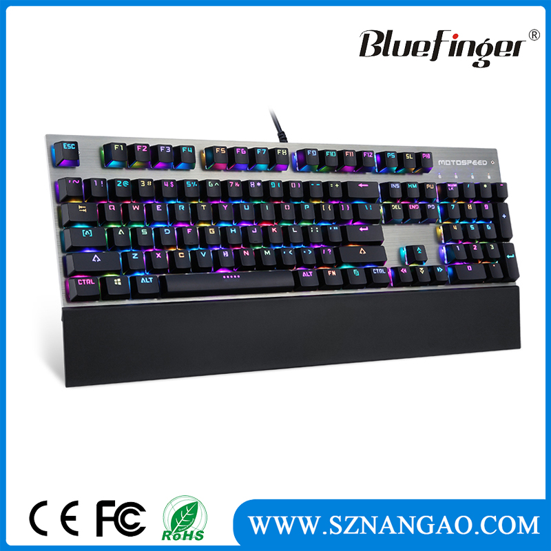 2017 Hot Product RGB Backlit Wired Mechanical Gaming Keyboard with black