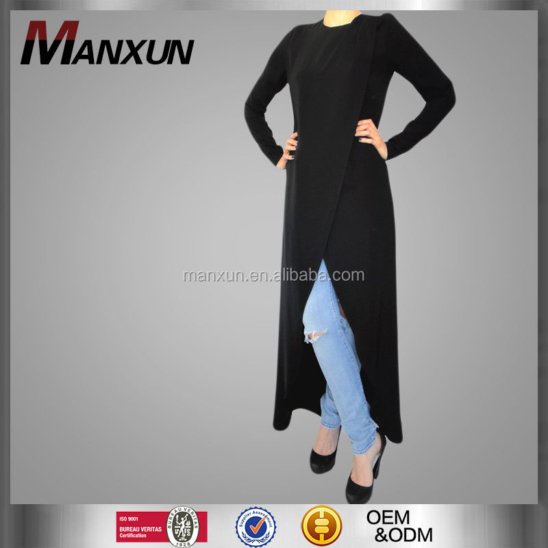 New Fashion Women Kimono Muslim Cardigan Plain Blouses Black Ladies Long Sleeve Tops