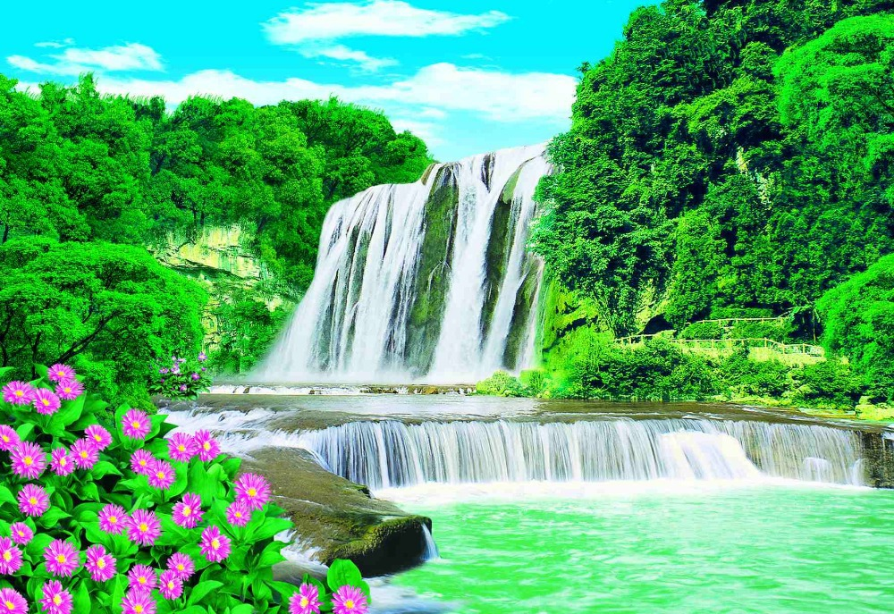 Beautiful Mountain Waterfall Scenery Paper Painting Buy