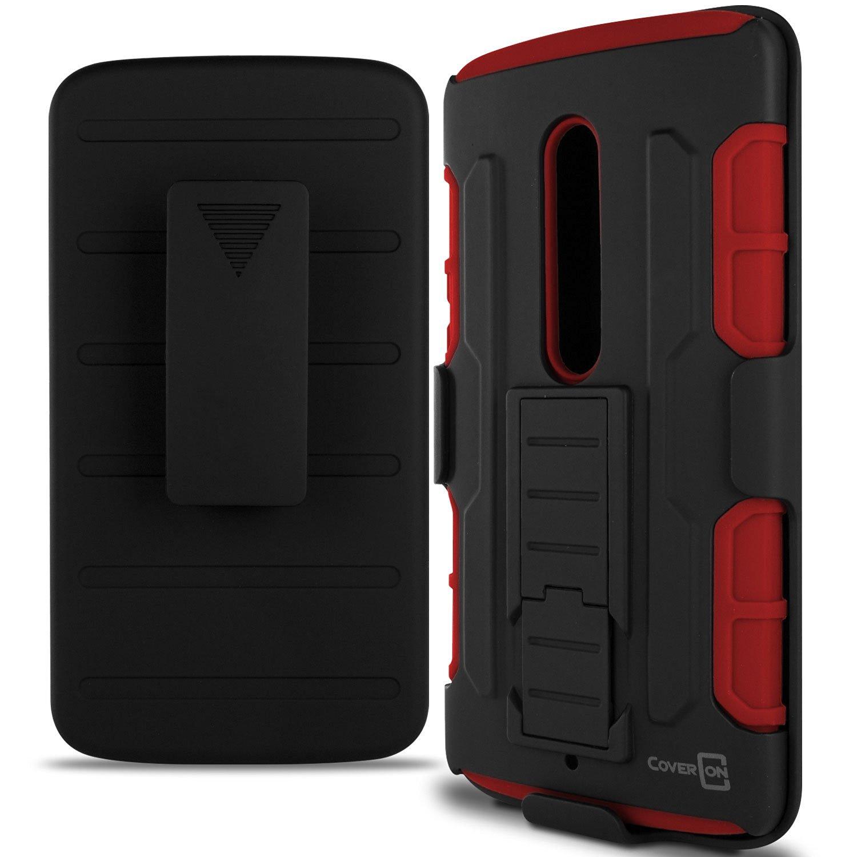 Motorola Droid Maxx 2 case, Moto X Play Case, CoverON® [Trekker Series] Holster Belt Clip Hybrid Silicone + Hard Stand Phone Case For Motorola Droid Maxx 2 / Moto X Play - Red / Black