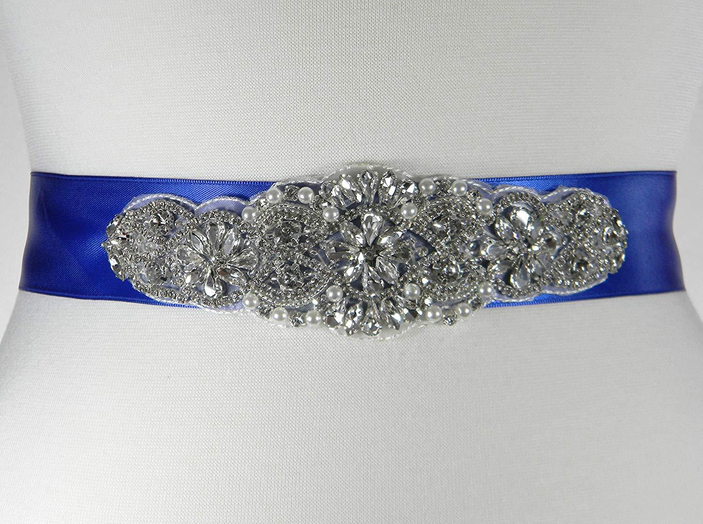 Wedding Belt, Royal Blue Satin Bridal Belt, Bridal Sash, Bridesmaid Belt, Flower Girl Dress Sash, Pearl and Crystal Rhinestone Wedding Sash Belt, ALEXA