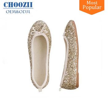 Spring Fancy Golden Glitter Girls Sequin Flat Slip-on Belly Shoes for Kids 8415705fd0a0