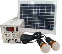 10w Solar Pv Power System 12V DC Backup battery box for 4 Led lights and 2 USB Port