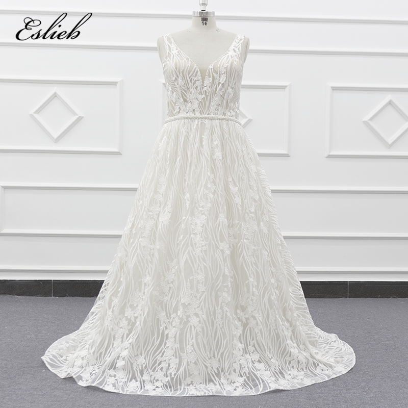 2019 beaded V neck line pearls bridal dress lace special sleeveless a line wedding dress pictures of beautiful wedding gowns