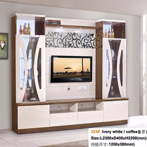 China Home Goods White And Coffee Color Tv Stands Wooden Glass Tv Showcase Designs For Hall