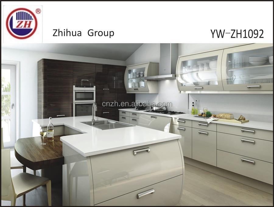 ronde hoek witte lak keuken kast met glazen deurenkeuken kasten, Meubels Ideeën