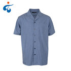 Hot selling cheap breathable yarn dyed short sleeve jacquard mens oxford dress shirt