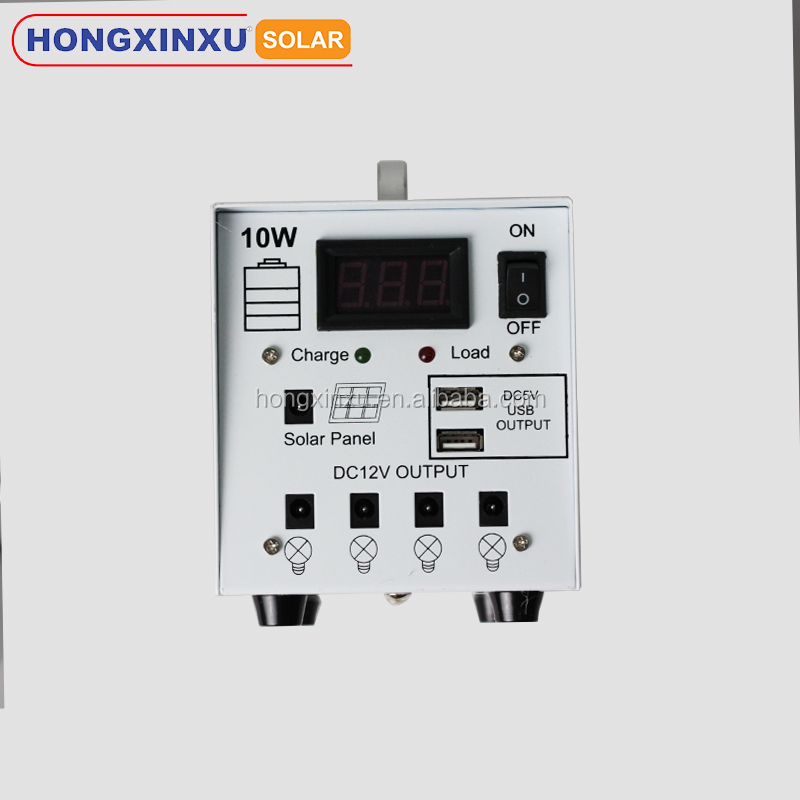 10W solar power system for home use with LED bulbs and cell phone charge