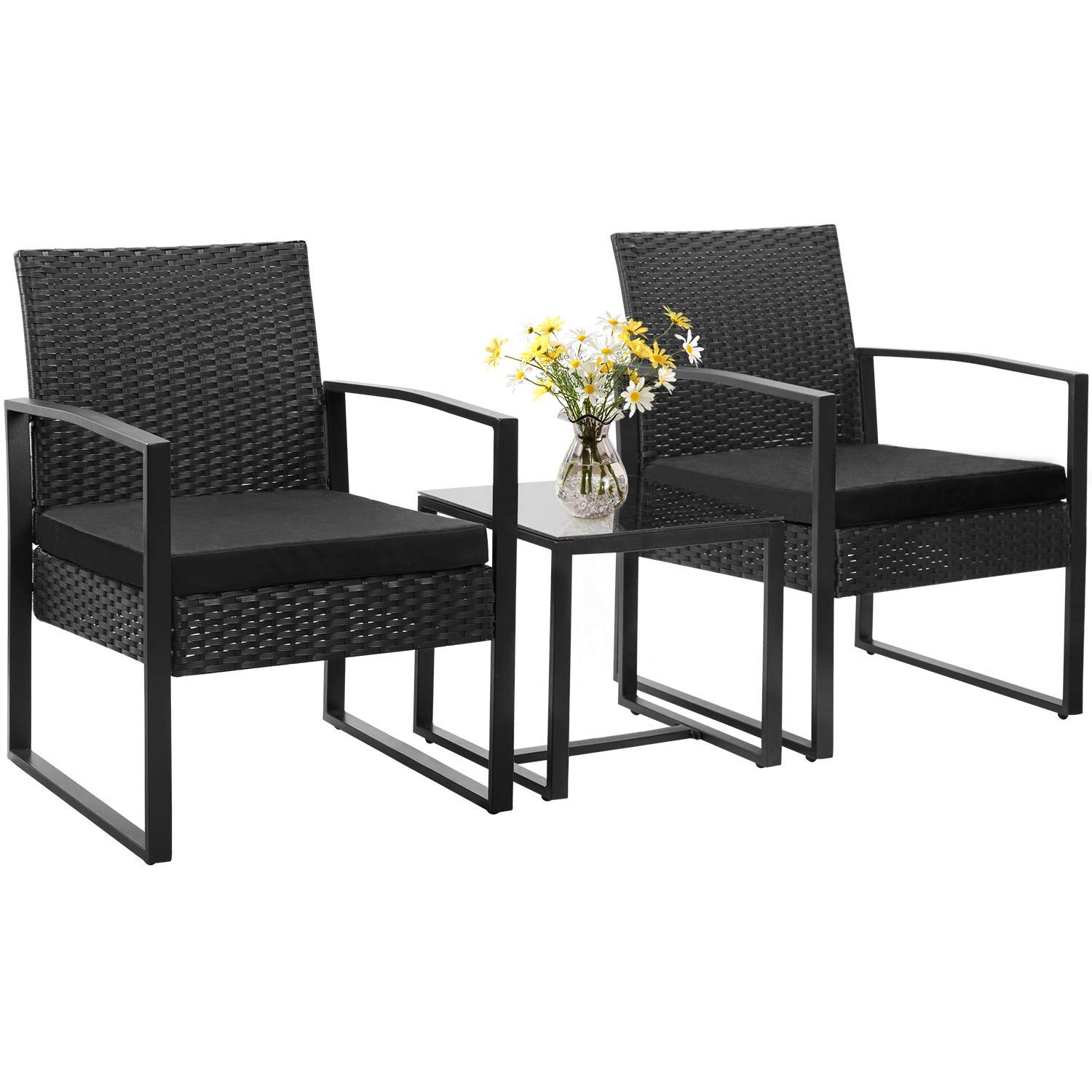 Homall 3 Pieces Patio Sets Bistro Table Set Modern Indoor Outdoor Furniture Sets Patio Furniture Sets Cushioned PE Wicker Bistro Set Rattan Chair Conversation Sets Coffee Table (Black)