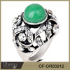 factory price Colorful retro jade Ancient silver ring designs for girl