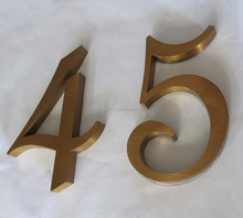 China factory supply acrylic alphabet letters sign stainless steel metal number bronze or rose gold room number signage in bulk