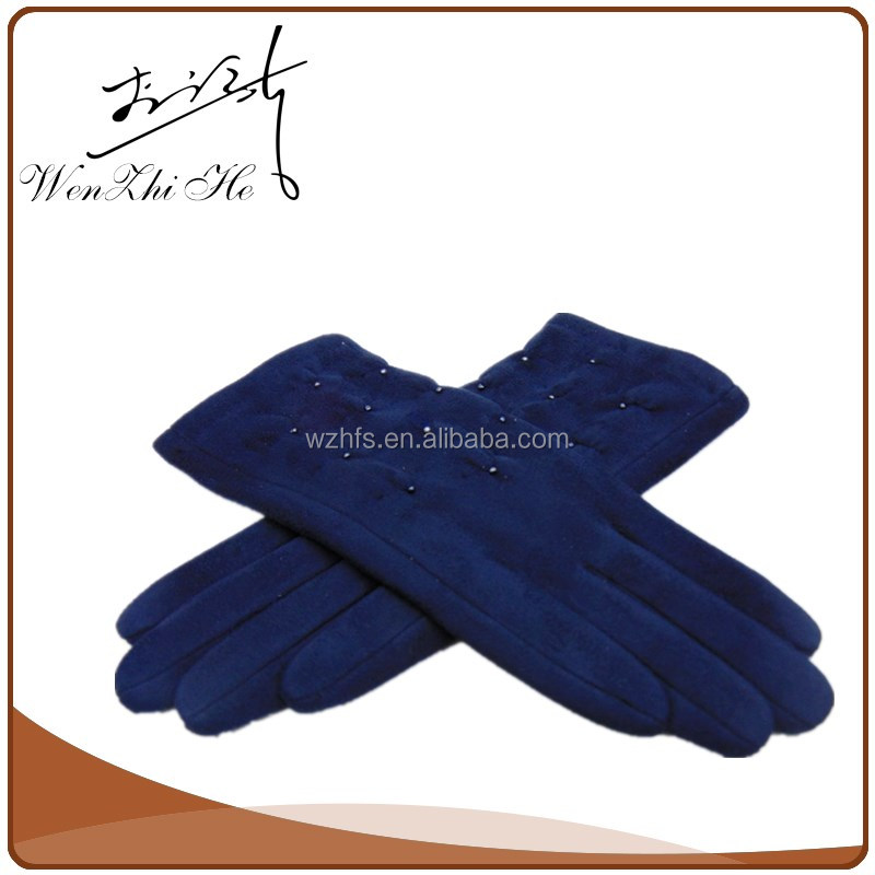 China Factory Jewelry Coated Navy Blue Knitted Gloves