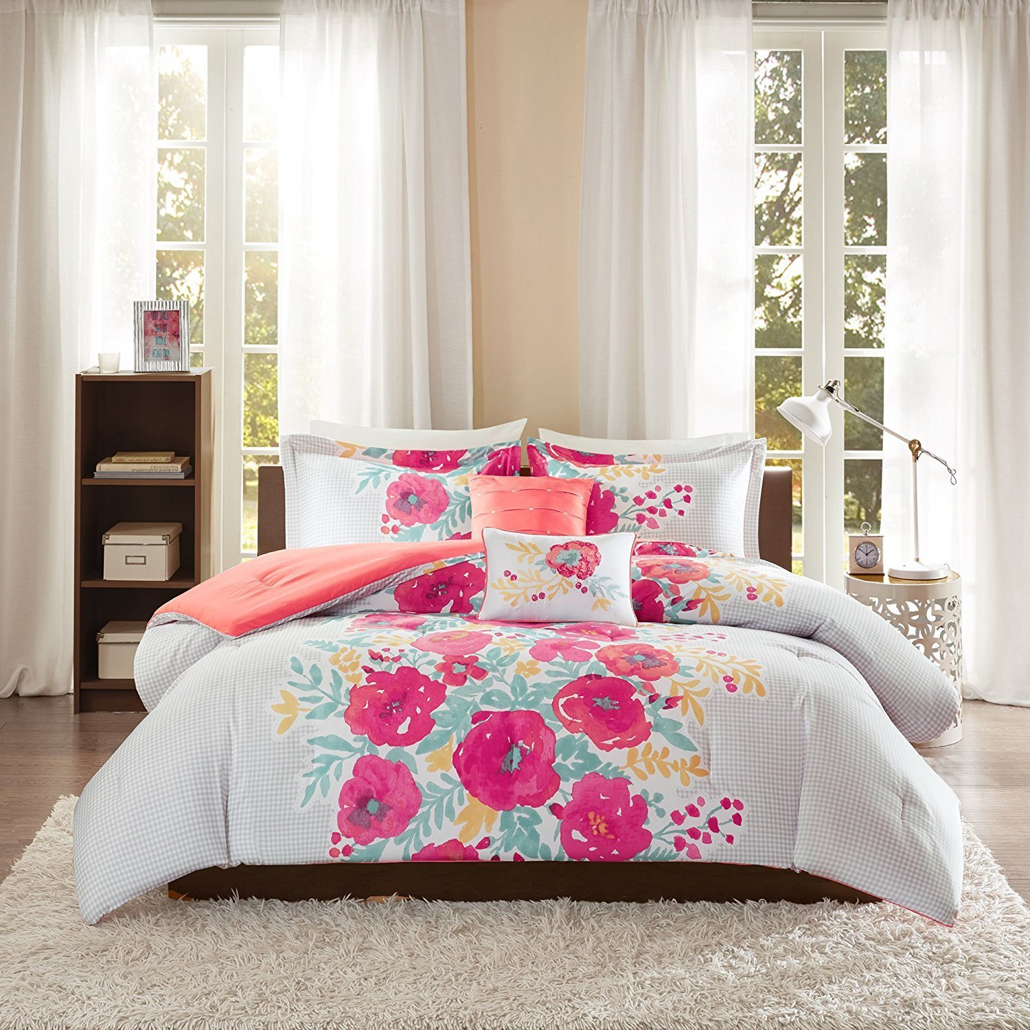 Blue With Pink Flowers Bedding Images Flower Decoration Ideas
